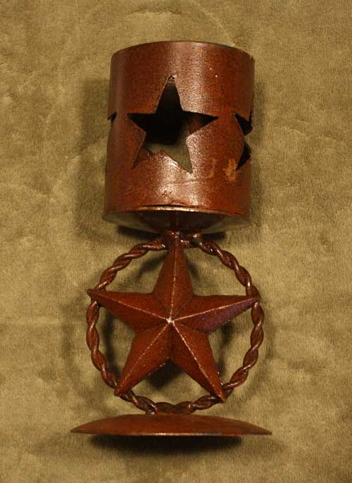 Metal star candle holder rustic western metal candle holder on star