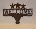 Heavy Metal Longhorn Welcome with stars-