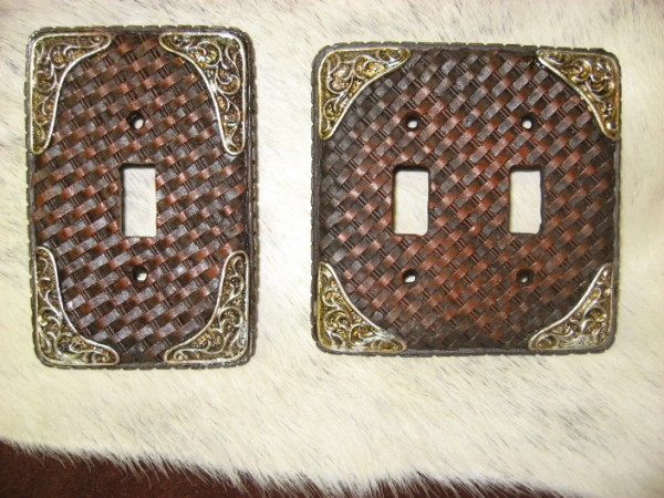 Western Light Switch Plates-Tooled Basketweave Look-
